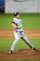 Staten Island Yankees relief pitcher Justin Kamplain (27) during a game against the Batavia Muckdogs on August 26, 2016 at Dwyer Stadium in Batavia, New York.  Staten Island defeated Batavia 6-2.  (Mike Janes/Four Seam Images)