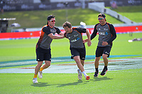 From left, Henry Nicholls, BJ Watling and Neil Wagner warm up before day five of the international cricket 2nd test match between NZ Black Caps and England at Seddon Park in Hamilton, New Zealand on Tuesday, 3 December 2019. Photo: Dave Lintott / lintottphoto.co.nz