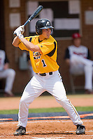 Paul Nice #1 of the VCU Rams at bat against the St. John's Red Storm at the Charlottesville Regional of the 2010 College World Series at Davenport Field on June 5, 2010, in Charlottesville, Virginia.  The Red Storm defeated the Rams 8-6.  Photo by Brian Westerholt / Four Seam Images