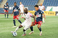 FOXBOROUGH, MA - SEPTEMBER 04: Don Smart #7 Forward Madison FC controls the ball in front of Damian Rivera #72 of New England Revolution II during a game between Forward Madison FC and New England Revolution II at Gillette Stadium on September 04, 2020 in Foxborough, Massachusetts.