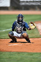 Nathan Rodriguez (17) of the Helena Brewers warms up the starting pitcher in the bullpen before the game against the Ogden Raptors in Pioneer League action at Lindquist Field on July 16, 2016 in Ogden, Utah. Ogden defeated Helena 5-4. (Stephen Smith/Four Seam Images)