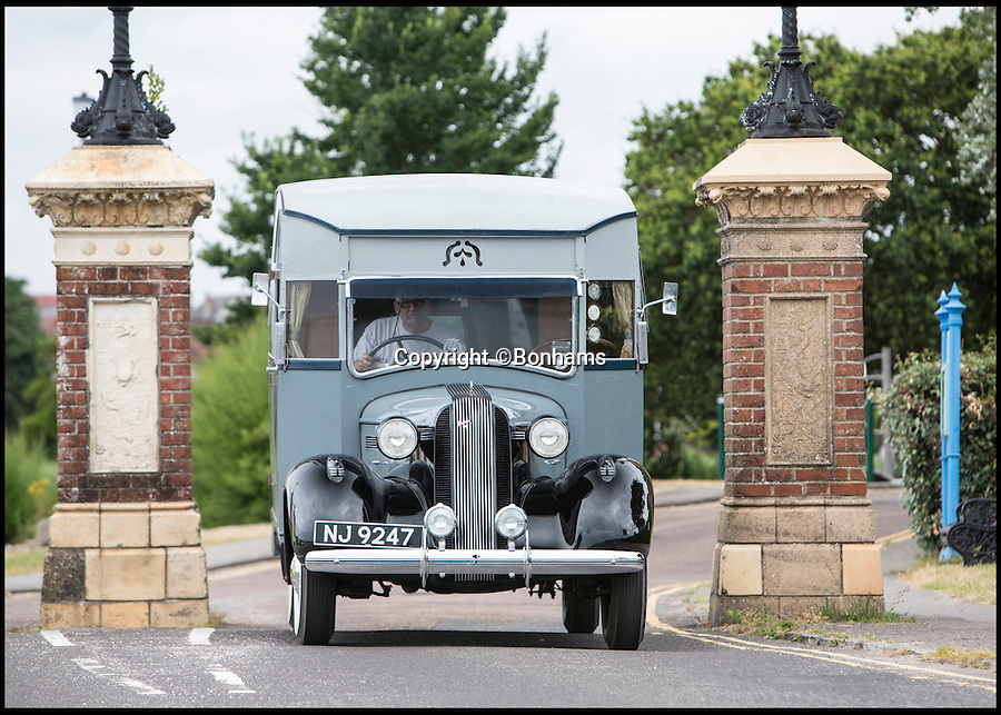 BNPS.co.uk (01202 558833)<br /> Pic: Bonhams/BNPS<br /> <br /> Britain's first motorhome revealed - As eccentric British pioneers 80 year old home on wheels trundles up for auction.<br /> <br /> The pre-war creation of Capt Dunn, an aristocrat from Bexhill-on-Sea, is believed to be the earliest motorhome in the UK.<br /> <br /> Enterprising Dunn shipped a Pontiac Six chassis over from America in 1935, engaged local coach builders to craft a bespoke<br /> <br /> home from home on to the back, and then set off into the British countryside in his new creation.<br /> <br /> The unique vehicle has been untouched since Dunn died in the 1940's and auctioneers Bonhams are now selling the time capsule<br /> <br /> camper at the Goodwood Revival on 10th September with a £40,000 estimate.