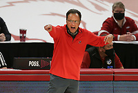 Georgia head coach Tom Crean reacts, Saturday, January 9, 2021 during the second half of a basketball game at Bud Walton Arena in Fayetteville. Check out nwaonline.com/210110Daily/ for today's photo gallery. <br /> (NWA Democrat-Gazette/Charlie Kaijo)
