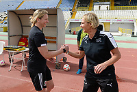 20180305 - LARNACA , CYPRUS : Swiss head coach Martina Voss-Tecklenburg pictured with Welsh coach Jayne Ludlow (left) during a women's soccer game between Switzerland and Wales , on monday 5 March 2018 at GSZ Stadium in Larnaca , Cyprus . This is the third game in group A for Switzerland and Wales during the Cyprus Womens Cup , a prestigious women soccer tournament as a preparation on the World Cup 2019 qualification duels. PHOTO SPORTPIX.BE | DAVID CATRY