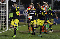Marvin Johnson of Oxford United celebrates scoring their third goal with team mates during the The Checkatrade Trophy Semi Final match between Luton Town and Oxford United at Kenilworth Road, Luton, England on 1 March 2017. Photo by Stewart  Wright  / PRiME Media Images.