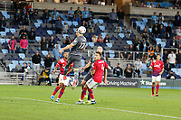 SAINT PAUL, MN - MAY 15: Robin Lod #17 of Minnesota United FC with the header during a game between FC Dallas and Minnesota United FC at Allianz Field on May 15, 2021 in Saint Paul, Minnesota.
