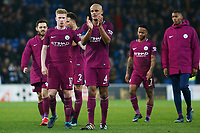 Vincent Kompany of Manchester City applauds the traveling away fans after the final whistle of the Fly Emirates FA Cup Fourth Round match between Cardiff City and Manchester City at the Cardiff City Stadium, Wales, UK. Sunday 28 January 2018