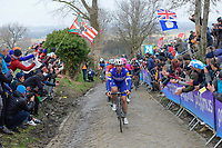 Yves Lampaert (BEL/Quick Step Floors) leading the bunch up the Oude Kwaremont<br /> <br /> 102nd Ronde van Vlaanderen 2018 (1.UWT)<br /> Antwerpen - Oudenaarde (BEL): 265km