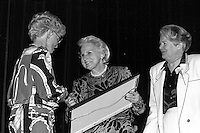 Montreal (qc) CANADA - file Photo - 1990 - <br /> <br /> <br />  - May Cutler, Mayor of Westmount (R)<br />  Jeanne Sauve, Governor General of Canada (M)