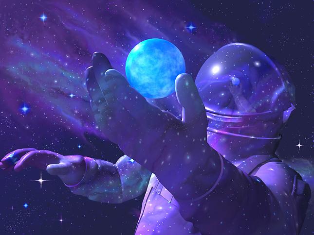 Astronaunt examing small world