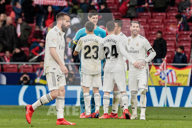 Real Madrid's players celebrate the victory during La Liga match between Atletico de Madrid and Real Madrid at Wanda Metropolitano Stadium in Madrid, Spain. February 09, 2019. (ALTERPHOTOS/A. Perez Meca)