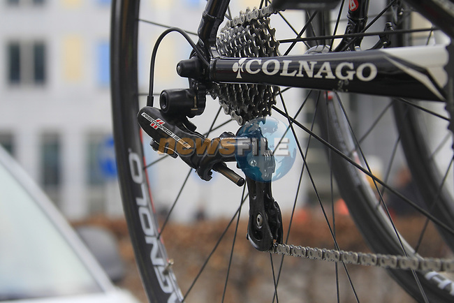 Campagnolo electronic drivetrain on Thomas Voeckler's (FRA) Team Europcar spare Colnago bike on the car rack before the start of the 98th edition of Liege-Bastogne-Liege outside the Palais des Princes-Eveques, running 257.5km from Liege to Ans, Belgium. 22nd April 2012.  <br /> (Photo by Eoin Clarke/NEWSFILE).