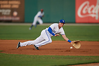 Dunedin Blue Jays first baseman Kacy Clemens (21) attempts to make a play on a ground ball during a Florida State League game against the Jupiter Hammerheads on May 15, 2019 at Jack Russell Memorial Stadium in Clearwater, Florida.  Dunedin defeated Jupiter 8-4 in nine innings, the second game of a doubleheader.  (Mike Janes/Four Seam Images)