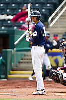 Brandon Healy (14) of the Oral Roberts Golden Eagles reads the batting sign during a game against the Missouri State Bears on March 27, 2011 at Hammons Field in Springfield, Missouri.  Photo By David Welker/Four Seam Images