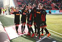 Marvin Knoll 2:2, Alexander Nandzik, Sebastian Stolze, Marco Gruettner, Kevin Hoffmann, Albion Vrenezi    celebration   2:2 Ausgleich  <br /> /   2.Bundesliga  DFL /  2017/2018 / 17.03.2018 / 1.FC Union Berlin FCU vs. SSV Jahn Regensburg 180317031 /      <br />     *** Local Caption *** © pixathlon<br /> Contact: +49-40-22 63 02 60 , info@pixathlon.de