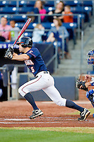 Mitchell Shiflett #5 of the Virginia Cavaliers follows through on his swing against the Duke Blue Devils at Durham Bulls Athletic Park on April 20, 2012 in Durham, North Carolina.  The Blue Devils defeated the Cavaliers 6-3.  (Brian Westerholt/Four Seam Images)