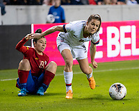 HOUSTON, TX - FEBRUARY 03: Kelley O'hara #5 of the USA evades a challenge by Jazmin Elizondo #19 of Costa Rica during a game between Costa Rica and USWNT at BBVA Stadium on February 03, 2020 in Houston, Texas.