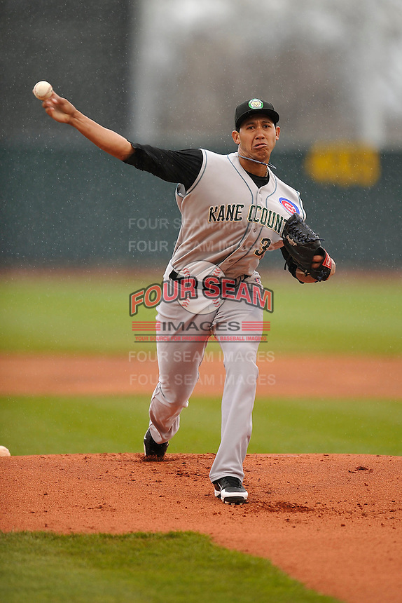 Daury Torrez #38 of the Kane County Cougars pitches against the Cedar Rapids Kernels at Perfect Game Field on May 1, 2014 in Cedar Rapids, Iowa. The Kernels won 5-2.   (Dennis Hubbard/Four Seam Images)