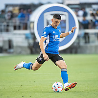 SAN JOSE, CA - AUGUST 17: Cristian Espinoza #10 of the San Jose Earthquakes passes the ball during a game between San Jose Earthquakes and Minnesota United FC at PayPal Park on August 17, 2021 in San Jose, California.