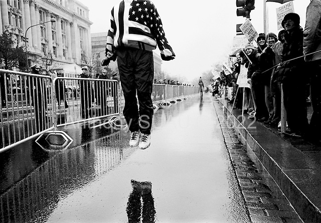 Washington DC, USA<br /> January 20, 2001<br /> <br /> Protesters demonstrate against the inauguration of US President George W. Bush at Freedom Square as the Bush's motorcade passes down Pennsylvania Avenue