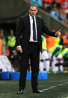 Swansea manager Paul Clement gives the thumbs up to his players during the Premier League match between Swansea City and Watford at The Liberty Stadium, Swansea, Wales, UK. Saturday 23 September 2017
