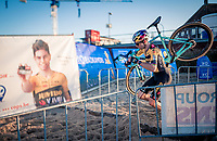 Wout van Aert (BEL/Jumbo-Visma) passing by himself during his first race of the 20/21 cyclocross season at the 2020 Urban Cross Kortrijk (BEL)<br /> <br /> ©kramon
