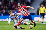 Filipe Luis of Atletico de Madrid (R) fights for the ball with Sergio Canales Madrazo of Real Sociedad (L) during the La Liga 2017-18 match between Atletico de Madrid and Real Sociedad at Wanda Metropolitano on December 02 2017 in Madrid, Spain. Photo by Diego Gonzalez / Power Sport Images