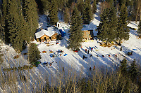Aerial of top teams resting at Ophir checkpoint as Cim Smyth arrives