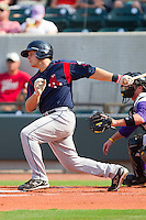 Tim Federowicz #18 of the Salem Red Sox follows through on his swing against the Winston-Salem Dash at  BB&T Ballpark June 27, 2010, in Winston-Salem, North Carolina.  Photo by Brian Westerholt / Four Seam Images