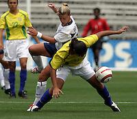 Aly Wagner (USA) v Daniela(Bra).US Women's National Team vs Brazil at Legion Field in Birmingham, Alabama.