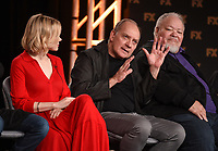 """PASADENA, CA - JANUARY 9: (L-R) Cast members Alison Pill, Zach Grenier, and Stephen McKinley Henderson attend the panel for """"Devs"""" during the FX Networks presentation at the 2020 TCA Winter Press Tour at the Langham Huntington on January 9, 2020 in Pasadena, California. (Photo by Frank Micelotta/FX Networks/PictureGroup)"""