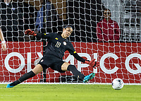 HOUSTON, TX - FEBRUARY 03: The second US goal by Lindsey Horan #9 of the USA by goalkeeper Priscilla Tapia #18 of Costa Rica during a game between Costa Rica and USWNT at BBVA Stadium on February 03, 2020 in Houston, Texas.