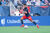FOXBOROUGH, MA - JULY 25: Brandon Bye #15 of New England Revolution during a game between CF Montreal and New England Revolution at Gillette Stadium on July 25, 2021 in Foxborough, Massachusetts.