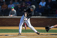 Johnny Aiello (2) of the Wake Forest Demon Deacons makes contact with the baseball during the game against the Florida State Seminoles at David F. Couch Ballpark on April 16, 2016 in Winston-Salem, North Carolina.  The Seminoles defeated the Demon Deacons 13-8.  (Brian Westerholt/Four Seam Images)
