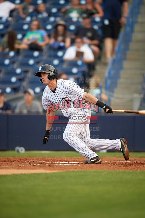 Tampa Yankees second baseman Nick Solak (39) at bat during a game against the Fort Myers Miracle on April 12, 2017 at George M. Steinbrenner Field in Tampa, Florida.  Tampa defeated Fort Myers 3-2.  (Mike Janes/Four Seam Images)