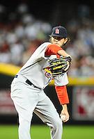 Apr. 12, 2011; Phoenix, AZ, USA; St. Louis Cardinals pitcher Brian Tallet against the Arizona Diamondbacks at Chase Field. Mandatory Credit: Mark J. Rebilas-