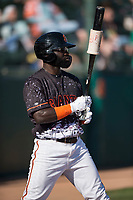 San Jose Giants left fielder Jacob Heyward (33) on deck during a California League game against the Lancaster JetHawks at San Jose Municipal Stadium on May 12, 2018 in San Jose, California. Lancaster defeated San Jose 7-6. (Zachary Lucy/Four Seam Images)