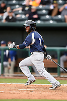 Pensacola Blue Wahoos shortstop Rey Navarro (1) at bat during a game against the Jacksonville Suns on April 20, 2014 at Bragan Field in Jacksonville, Florida.  Jacksonville defeated Pensacola 5-4.  (Mike Janes/Four Seam Images)