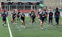 23 May 09: New England Revolution players during the warm-up in a game between the New England Revolution and Toronto FC..Toronto FC won 3-1.