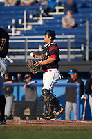 Batavia Muckdogs catcher Michael Hernandez (4) during a game against the West Virginia Black Bears on August 5, 2017 at Dwyer Stadium in Batavia, New York.  Batavia defeated West Virginia 3-2.  (Mike Janes/Four Seam Images)