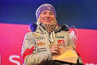 February 16, 2017: 1st place Tessa WORLEY (FRA) pose for photographs at the medal ceremony for the women's giant slalom event of the FIS Alpine World Ski Championships at St Moritz, Switzerland. Photo Sydney Low