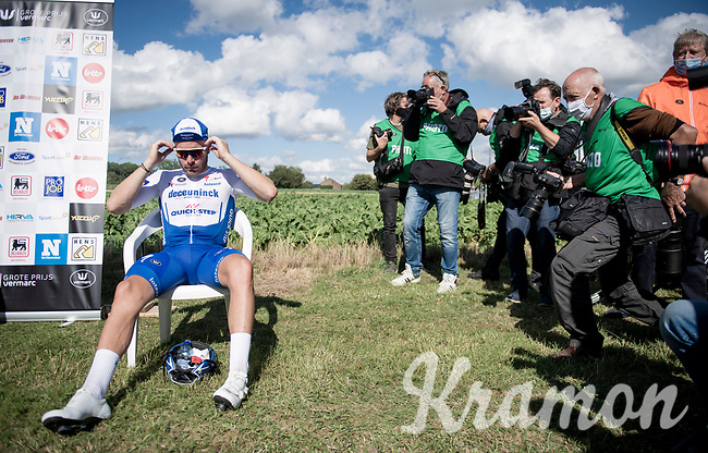 """race winner Florian Sénéchal (FRA/Deceuninck - QuickStep) """"backstage"""" in covid19-dominated times where podium ceremonies are minimalised & held fully outdoors<br /> <br /> the inaugural GP Vermarc 2020 is the very first pro cycling race in Belgium after the covid19 lockdown of Spring 2020 & which was only set up some weeks in advance to accommodate belgian teams by providing racing opportunities asap after the lockdown allowed for racing to restart (but still under strict quarantine / social distancing measures for the public, riders & press)<br /> <br /> Rotselaar (BEL), 5 july 2020<br /> ©kramon"""