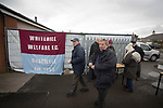 Whitehill Welfare 3 Gala Fairydean Rovers 0, 12/03/2016. Ferguson Park, Rosewell, Scottish Lowland League. Spectators arriving at Ferguson Park, Rosewell, before Whitehill Welfare take on Gala Fairydean Rovers in a Scottish Lowland League fixture, which the home team won 3-0. The match was one of six arranged by the league and GroundhopUK over the weekend to accommodate groundhoppers, fans who attempt to visit as many football venues as possible. Around 100 fans in two coaches from England participated in the 2016 Lowland League Groundhop and they were joined by other individuals from across the UK which helped boost crowds at the six featured matches. Photo by Colin McPherson.