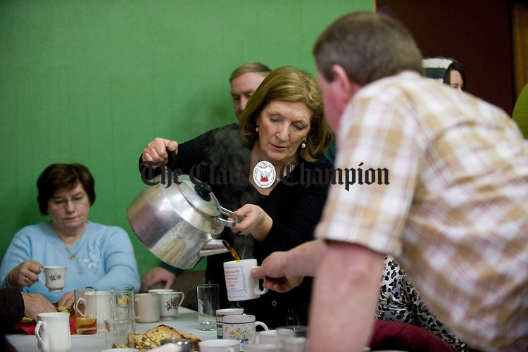 Celia Maloney pouring tea at the Feakle Parish Afternoon Tea Social in the local Hall. Photograph by John Kelly.