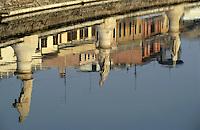 Canal through the Prato della Valle with Loggia Amulea in the background, Padua, Italy.