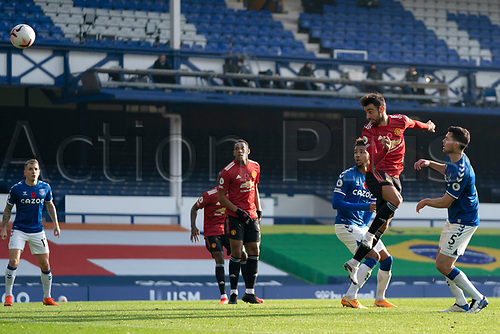 7th November 2020; Liverpool, England; - Manchester Uniteds Bruno Fernandes scores his first goal during the Premier League match between Everton and Manchester United at Goodison Park Stadium