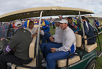 27.09.2014. Gleneagles, Auchterarder, Perthshire, Scotland.  The Ryder Cup.  Rory McIlroy (EUR), Sergio Garcia (EUR), Martin Kaymer (EUR), in the buggy following the Saturday Foursomes.