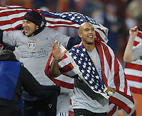 USMNT goalkeeper Tim Howard (1) and goalkeeper Brad Guzan celebrating the qualification to South Africa 2010 The USMNT tied Costa Rica 2-2 on the final game of the 2010 FIFA World Cup Qualifying round at RFK Stadium, Wednesday October 14, 2009.