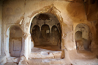 Early Christian rock cave churches in the tuff volcanic rock of Cappadocia, Turkey