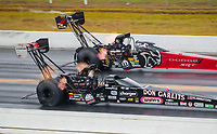 Sep 27, 2020; Gainesville, Florida, USA; NHRA top fuel driver Steve Torrence in his Don Garlits themed dragster (near) defeats Leah Pruett during the Gatornationals at Gainesville Raceway. Mandatory Credit: Mark J. Rebilas-USA TODAY Sports